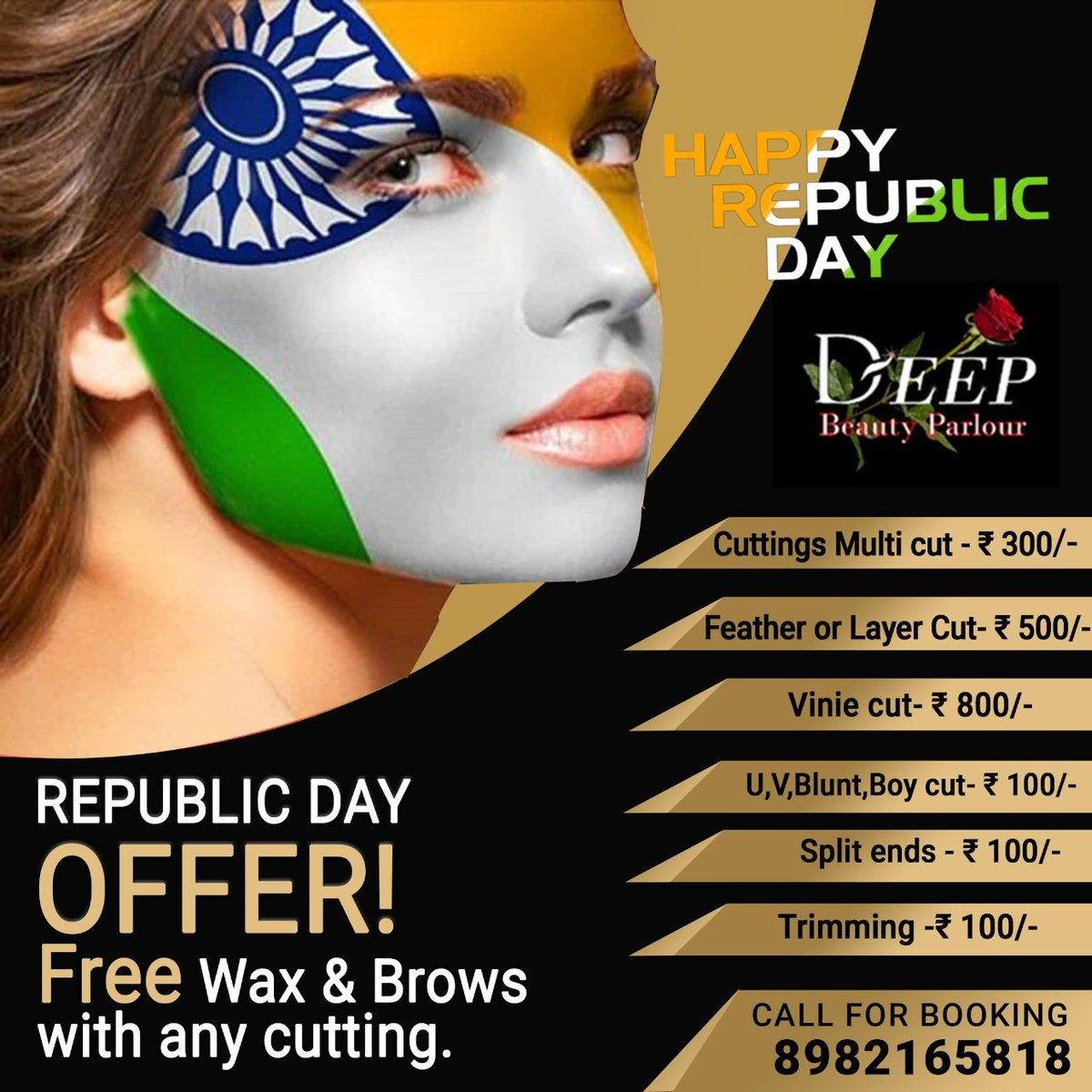 Wish you all a very happy and great Republic Day from DEEP BEAUTY SALON! ENJOY OUR SUPER OFFER  by getting FREE Brows & Wax with any hair cut! #haircut #hair #hairstyle #haircolor #26jan #hairstyles #barbershop #hairstylist #barberlife #republicdayoffer #barbershopconnect