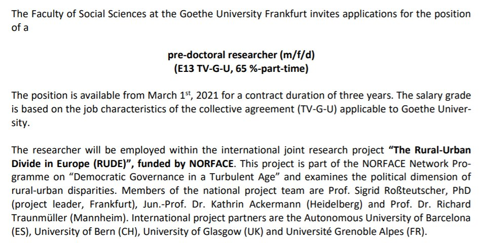 ⚡️One week left to apply ⚡️ We are looking for a PREDOC for our project on rural-urban divides in politics @goetheuni @NORFACE_network 👉Job ad: fb03.uni-frankfurt.de/96583072/Aussc… 💡More info on the project: fb03.uni-frankfurt.de/67808294/InFER… 📢Please spread the word!