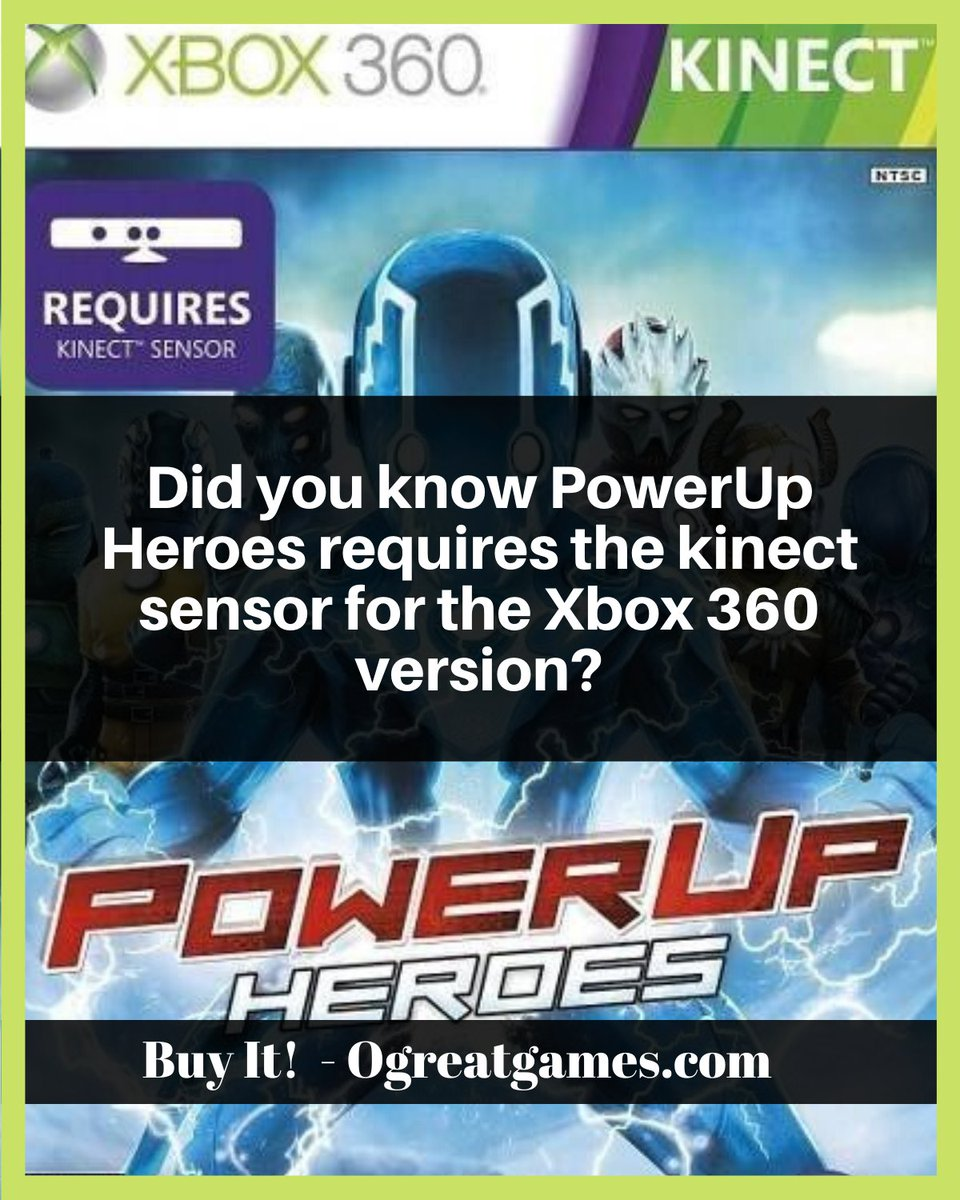 Did you know PowerUp Heroes requires the kinect sensor for the Xbox 360 version? #gamers #play #questions #xbox360 #hero