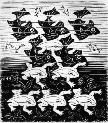 Fish and Frogs, 1949 #escher #opart