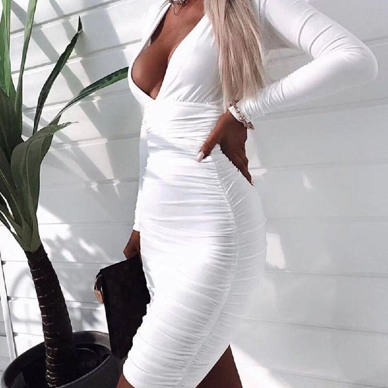 Shop Sexy Deep V Long Sleeve Solid Color Mini Dresses @powerdaysale    #minidress #Clubwear #Sexywear #Sexylooks #partywear #nightout #likeforlike #followme