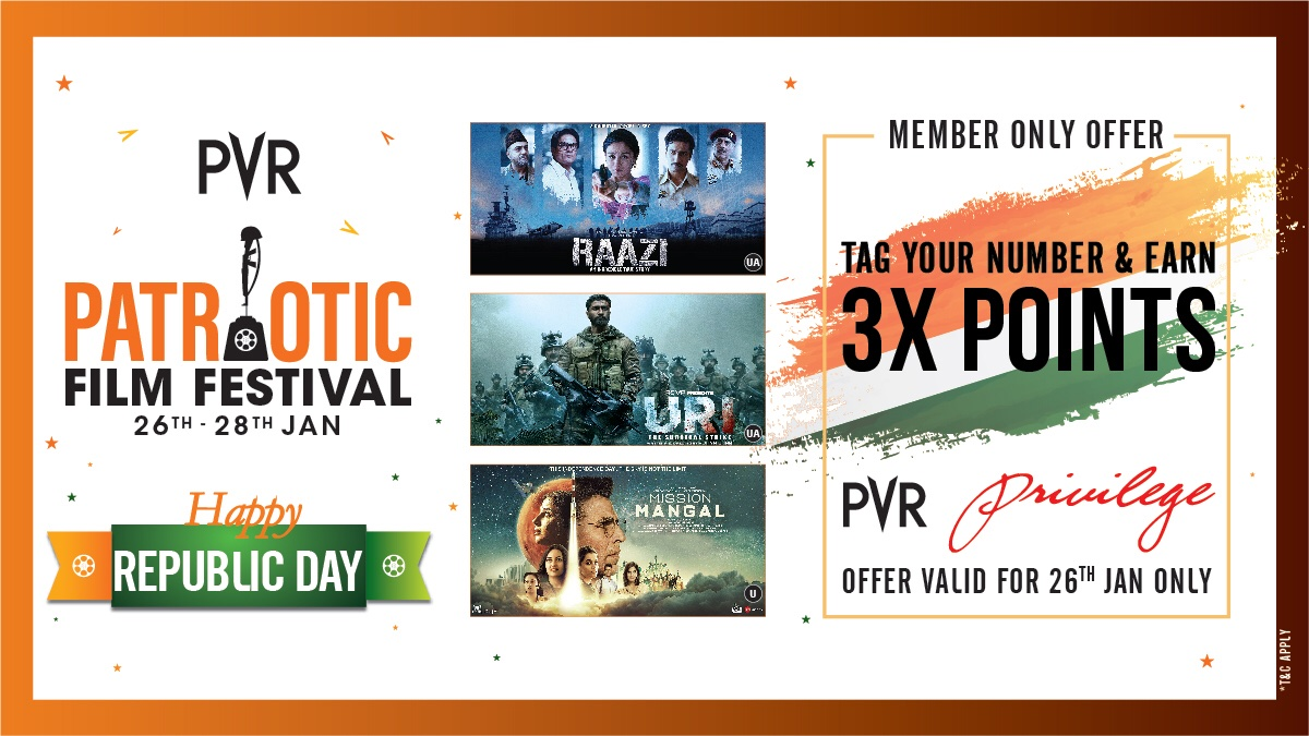 Happy Republic day! Celebrating our tri-colour with many colours of entertainment as we present to you our Patriotic Film Festival.  #BackAtPVR #RepublicDay  #RepublicDay2021
