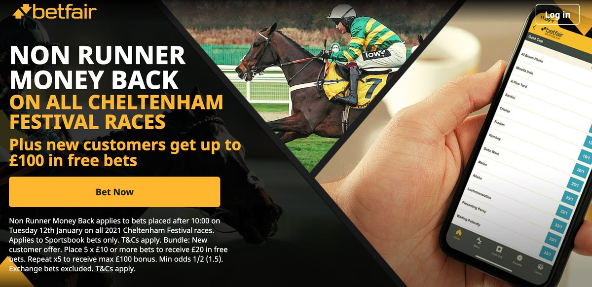 🏆 CHELTENHAM FESTIVAL 🏆  Betfair are offering Non-Runner No Bet on ALL Cheltenham Festival races! 🏇  PLUS  💰 Get up to £100 in free bets when you sign up to Betfair here! ⬇️  Sign up here ➡️   🔞 T&C's Apply | BeGambleAware #Ad