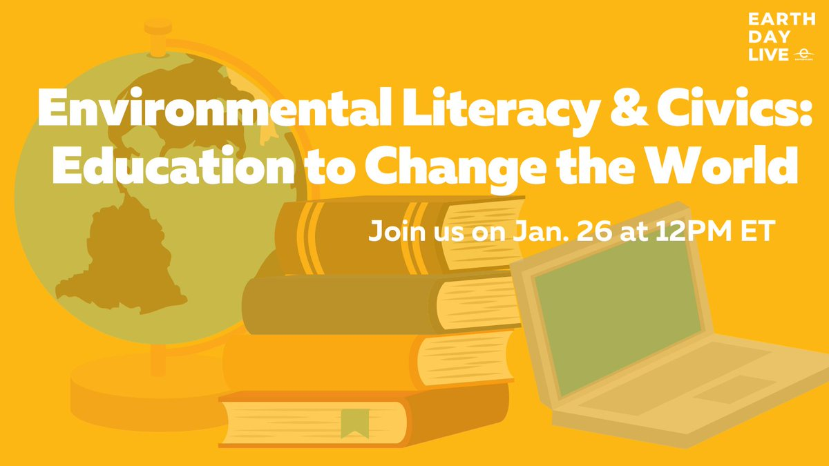 "JOIN US for the #EarthDayLive event ""Education to Change the World"" TODAY at 12PM ET to discuss the urgent issue of #ClimateLiteracy in our schools!   Register here:"