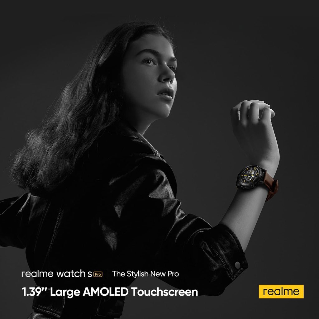 "#realmeWatchSPro is designed stylishly with a (1.39"") Large AMOLED Touchscreen, supports AOD (Always-on Display) functions and Auto-Brightness to fulfil a trendsetting functionality.  #SmartWatch #realAIoT #realmeMalaysia"