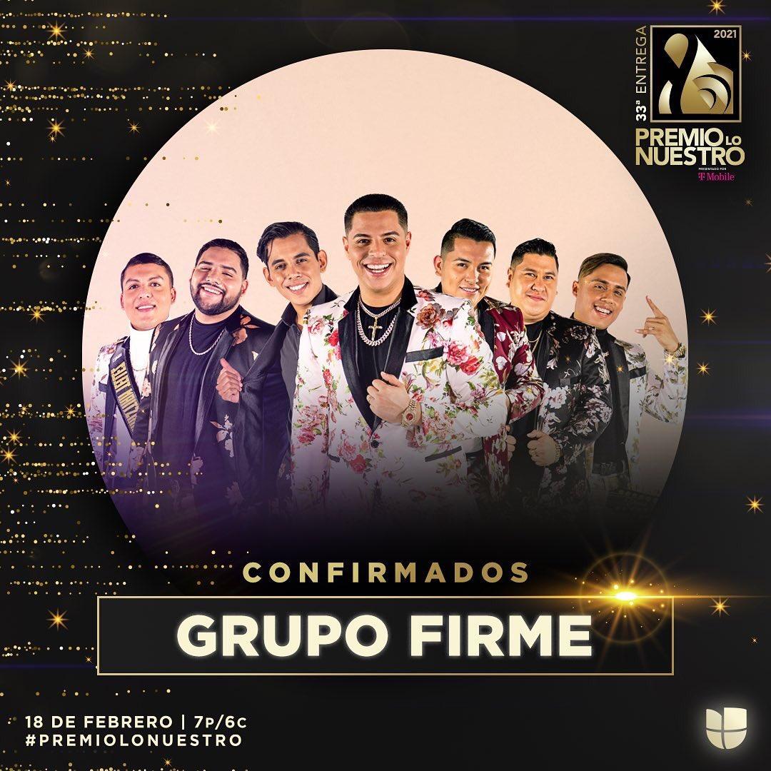 Los 6 veces nominados @GrupoFirme estarán presente en #PremioLoNuestro con su estilo original. 😎