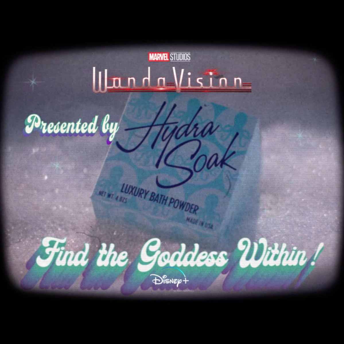 """WandaVision"" is brought to you in color by Hydra Soak. Find the Goddess within!  Marvel Studios' #WandaVision is now streaming on #DisneyPlus."