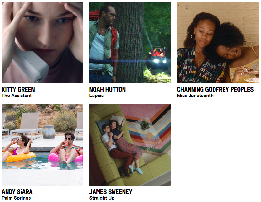 """Best First Screenplay:  - Kitty Green, """"The Assistant"""" - Noah Hutton, """"Lapsis"""" - Channing Godfrey Peoples, """"Miss Juneteenth"""" - Andy Siara, """"Palm Springs"""" - James Sweeney, """"Straight Up""""  #SpiritAwards"""