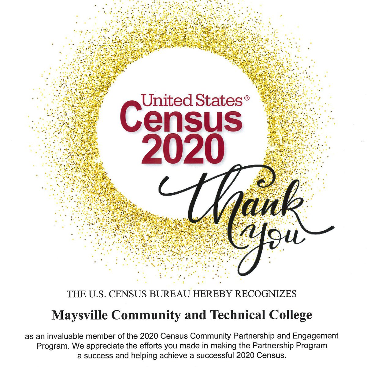 The @uscensusbureau has recognized MCTC as an invaluable member of the 2020 Census Community Partnership and Engagement Program. #census2020 #community #MCTCproud