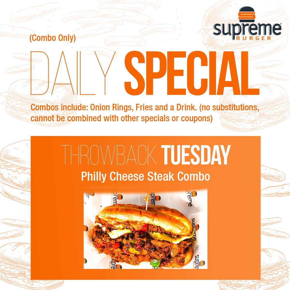 Today is Throwback Tuesday. Paying homage to our humble beginnings and bringing back the Philly Cheese Steak, supreme style. Just ask for the Daily Special for $12.99. #PhillyCheeseSteak #DailySpecial #Restaurant #Thursday #Halal