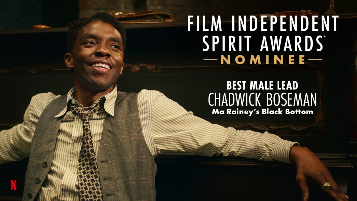 .@chadwickboseman is nominated for Best Male Lead for his performance in @MaRaineyFilm! #SpiritAwards