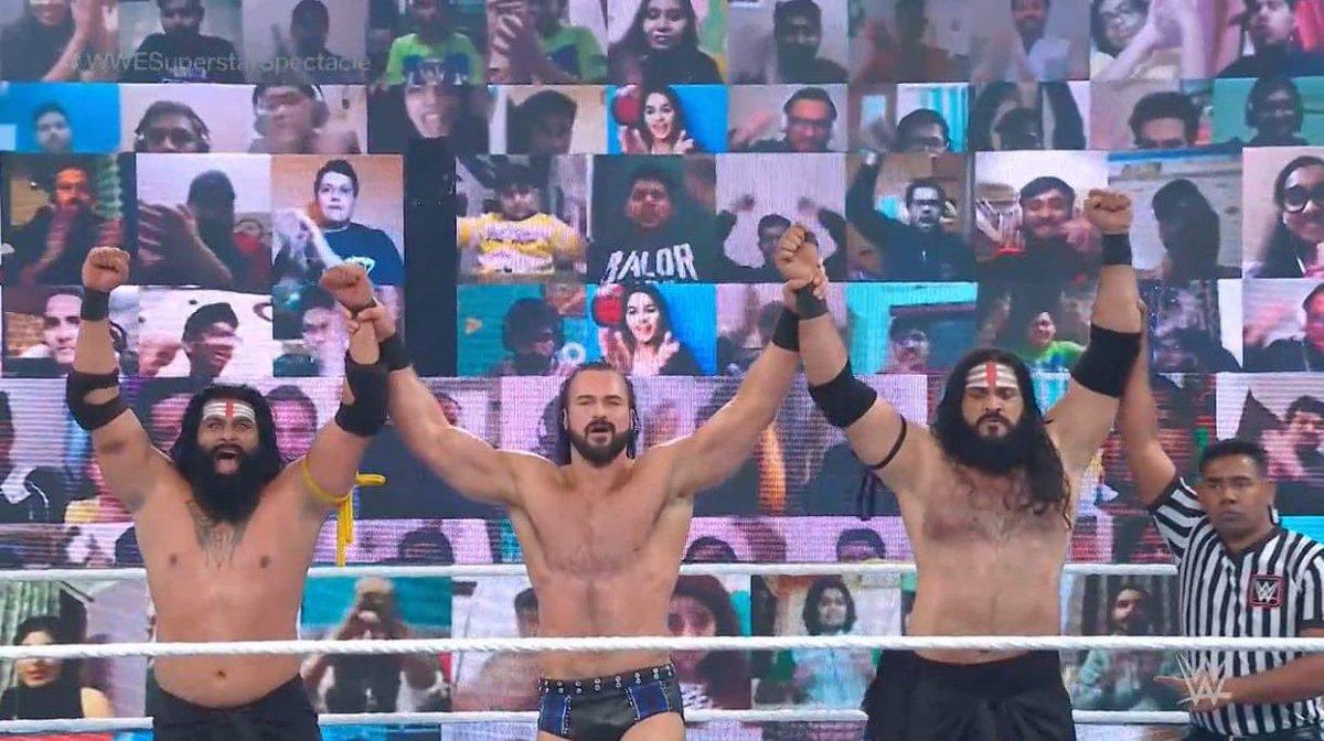 Drew McIntyre & Indus Sher derrotan a Jinder Mahal & The Singh Brother en la estelar de Superstar Spectacle. Esto marca el regreso de Jinder Mahal a los cuadriláteros desde su lesión. #WWESuperstarSpectacle