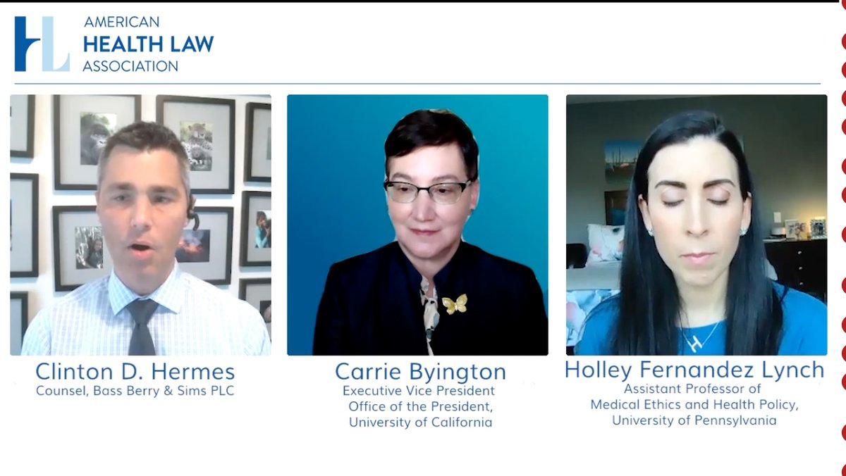 Pleased to join the @AmerHealthLaw Virtual Academic Medical Centers and Teaching Hospitals Institute to discuss #CovidVaccines and the roll-out @UofCAHealth.