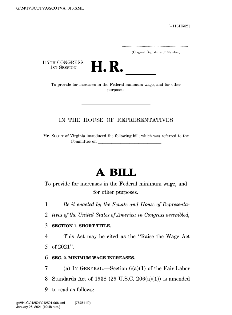 JUST IN: House and Senate Democrats introduce legislation to raise the federal minimum wage from $7.25 to $15 by 2025.