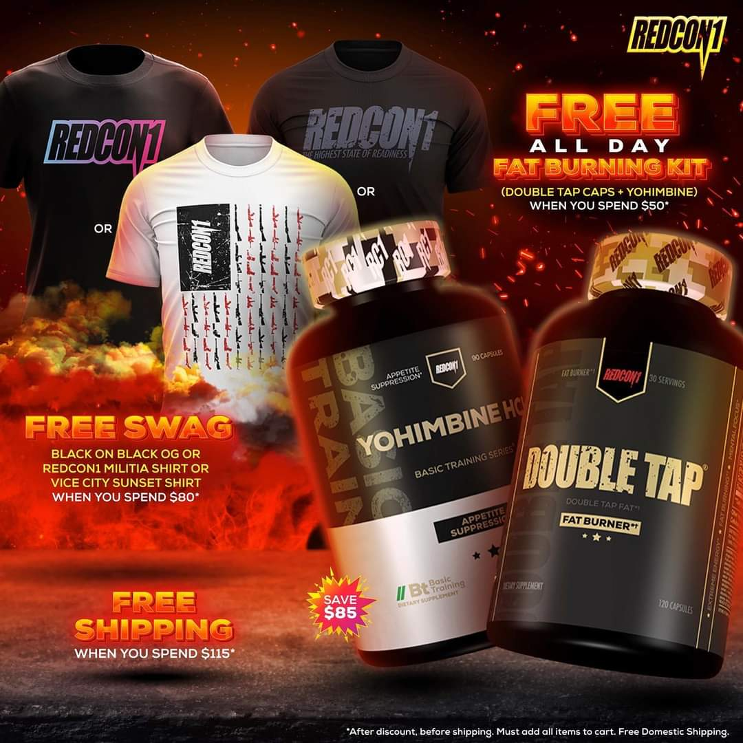 Spend $50 and receive Double Tap capsules and Yohimbine free. Spend $80 receive a FREE Shirt. Spend $115 free domestic shipping. #redcon1 #higheststateofreadiness #bodybuilding #fitness #powerlifting #strongman #crossfit #fitfam #supplements #workout