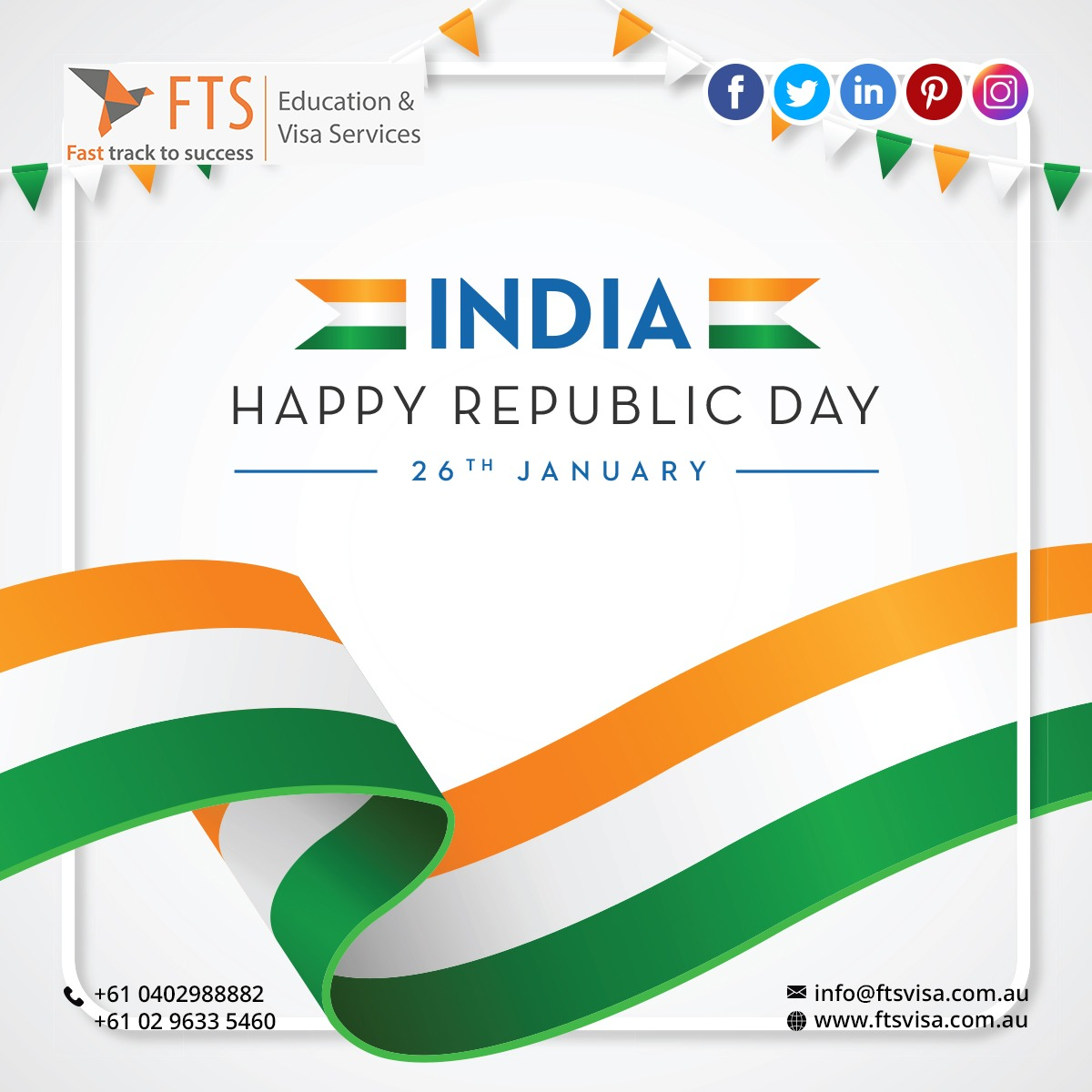 """""""Happy Republic Day to all the Global Indian Community - @ftsvisa Team  Call/Reach Us @ +61 0402988882, +61 02 9633 5460  #ftsvisa #fts #fasttracktosuccess #australia #australiaprvisa #skilledvisa #skilledvisaaustralia #mvcvper #tuesdayvibe #tuesdaymotivations #tuesdsay"""""""