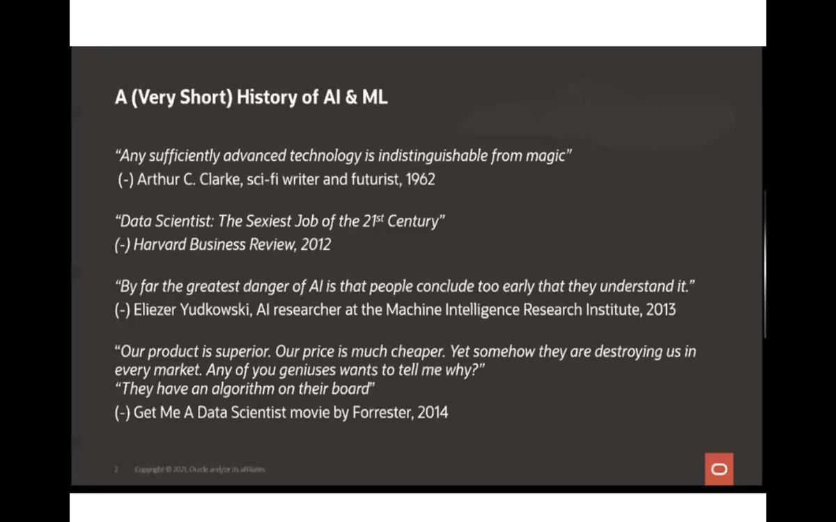 """Now: @ziklik History AI/ML. Love quote on getting value from #data in past:   """"If you wanted to get value from your data; needed Mystical Unicorns called DBAs""""    #developer #dba #MachineLearning #javascript #python #keras #DataScientist #java #json #analytics #DevOps #oracleace https://t.co/qbc9VXQZGT"""