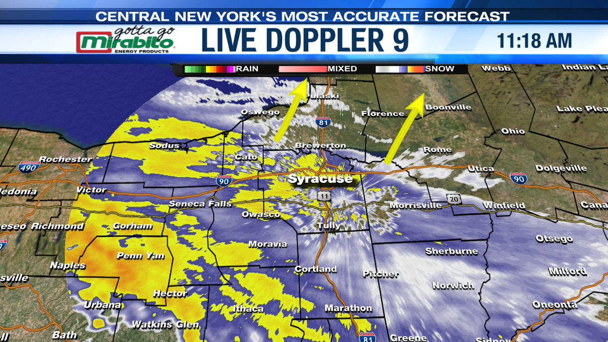 #Snow is quickly overspreading #CNY and will be heavy at times this afternoon. Roads will become snow covered and slick for all with greatly reduced visibility at times. Go to #LocalSYR.com and tune to #NC9 at noon.
