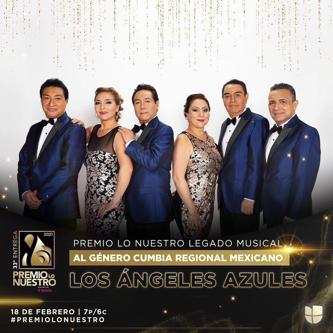.@angelesazulesmx serán reconocidos con el Premio Lo Nuestro Legado Musical - al Género Cumbia Regional Mexicano por más de 30 años dominando los escenarios con su cumbia sonidera #PremioLoNuestro ✨
