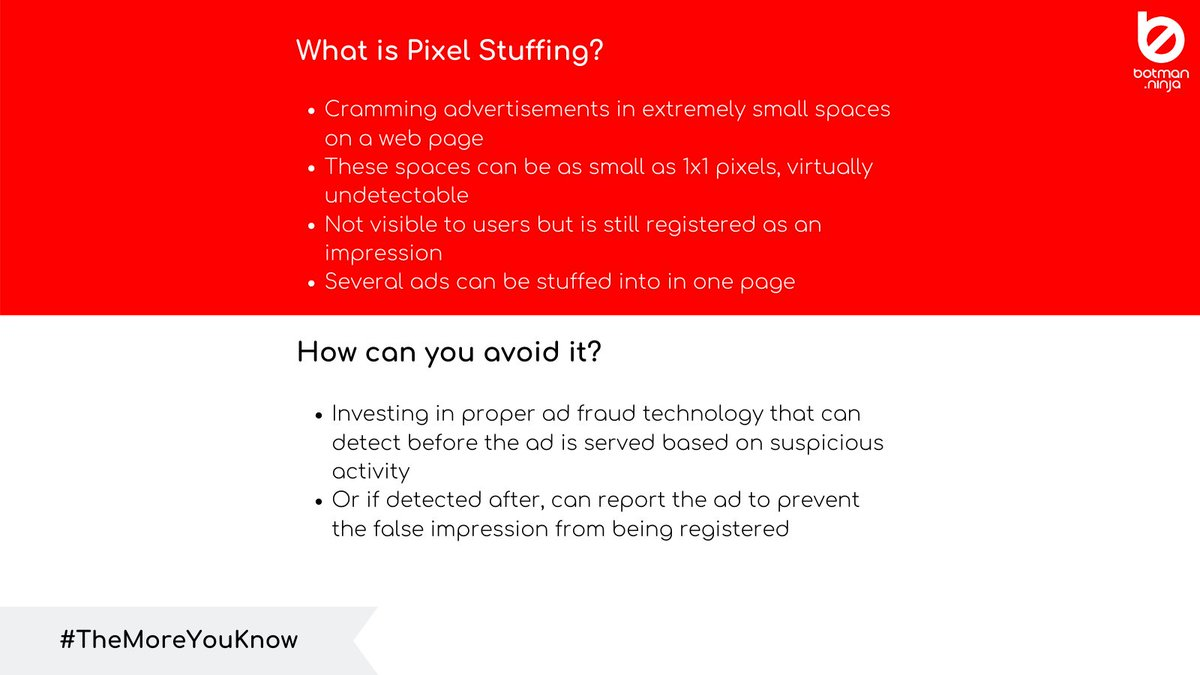 Before looking out for protection, it's essential to know what you need protection from. Tune in every Tuesday for our #TheMoreYouKnow series. #adfraud #brandsafety #botmanninja #tipstuesday #pixelstuffing