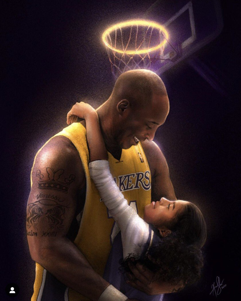 I can't forget where I was when I heard the horrific news.   All I could think was, how? Why?   Kobe was/is such an inspirational icon that meant so much to so many including me. I miss him like crazy.  I hope Kobe & Gigi are ballin in heaven   🐍💜💛🖤 #MambaForever #Mambacita