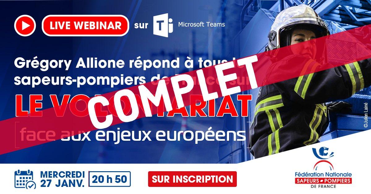 #Webinaire | Le webinaire sur le #volontariat via la plateforme Teams est complet !  Vous pourrez toutefois le suivre & interagir en «tchat» en direct, sans inscription, sur @FacebookFR, @TwitterFrance & @YouTube des sapeurs-#pompiers de France ! RDV le 27 janvier 20h50 !