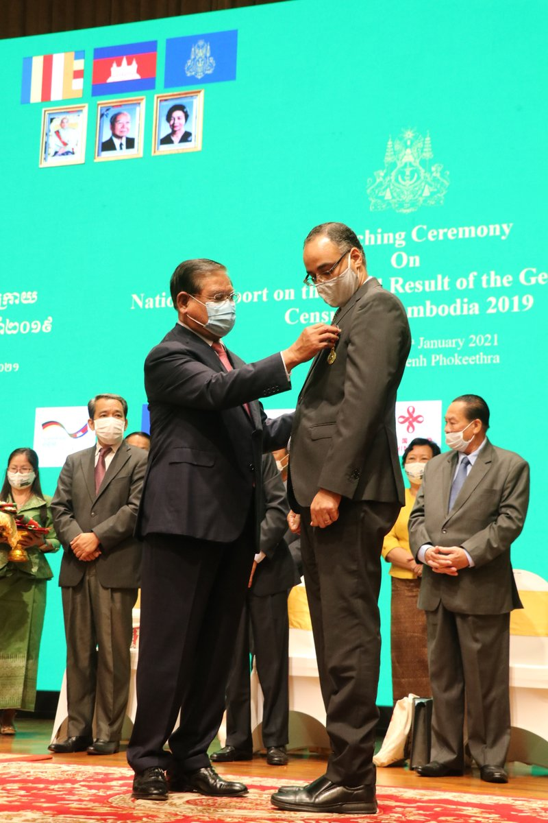 One of @UNFPA's core mandates is to strengthen national capacities to ensure #Censuses are of high quality & uphold international standards.  @unfpacambodia proud to have contributed towards that goal & thankful for the Royal Government's recognition.  #ICPD25 #Cambodia @Atayeshe