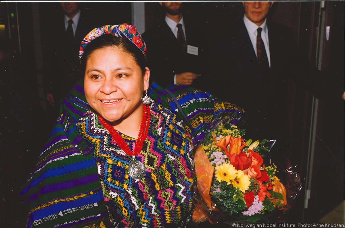 """""""The whole society has an obligation to show mutual respect, to learn from each other and to share material and scientific achievements.""""  Rigoberta Menchú Tum was awarded the 1992 Nobel Peace Prize for her work on behalf of the rights of indigenous peoples."""