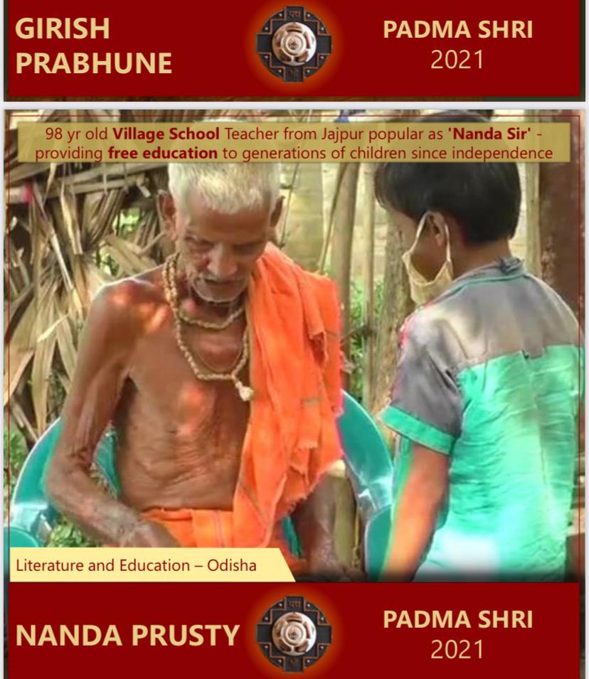 98 Yes old village school teacher from Jaipur popular as 'Nanda Sir' providing free education to generation of children since independence.. Congratulations to Padmashri Awarded Nanda Prusty..💐💐💐 #26January  #RepublicDay  #PadmaShriAward  #tuesdaymotivations