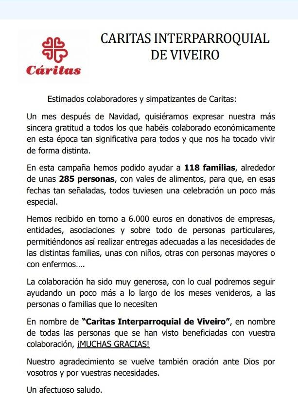 🌟 Agradecimiento de Cáritas interparroquial de #Viveiro por la colaboración en su campaña #Navidad2020, que permitió atender a 118 familias durante esas fechas tan especiales  🥰 ¡¡¡GRACIAS, VIVEIRO!!! 👏🏽👏🏽👏🏽👏🏽👏🏽  #CadaGestoCuenta #EmpresasConCorazón #Solidaridad