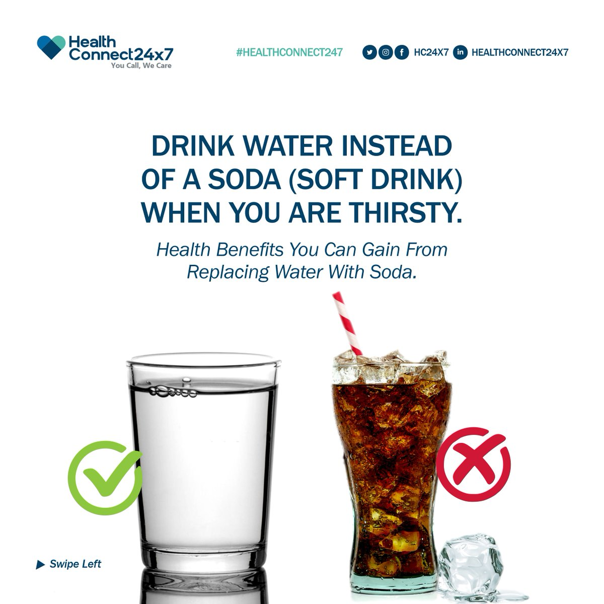 Have you ever felt thirsty and you took a soda or any other beverage instead of water? You feel unsatisfied but still, proceed to take even more soda, the feeling doesn't stop until you take a cup of water.  #HealthTips #Soda #DrinkWater #Water #Nutrition #HealthConnect247