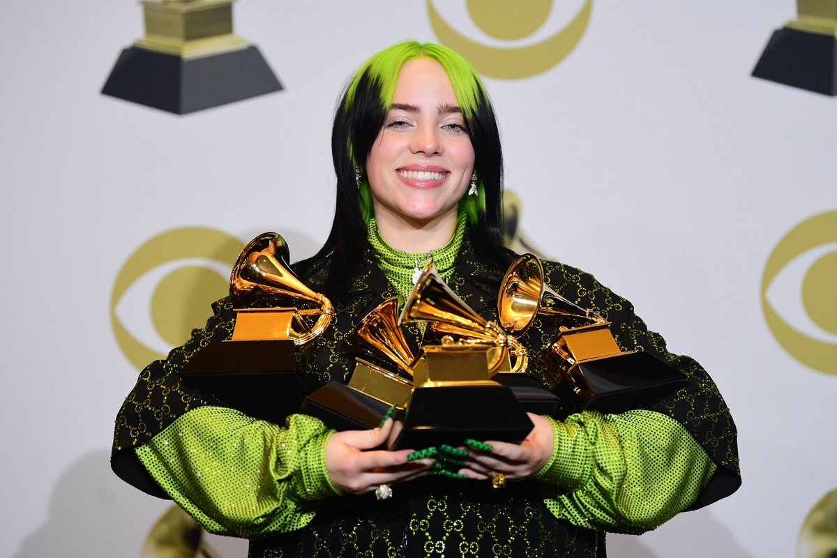 A year ago today, @BillieEilish made history as she became the youngest and only female artist to win all four major awards in #Grammys in a single night.   She also became the youngest artist to win Album of the Year and Record of the Year!