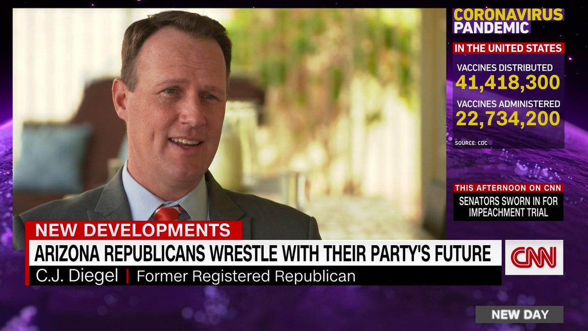 """""""I finally had to say no. I don't want to be associated with the Arizona Republican Party,"""" resident C.J. Diegel says.  More than 9,000 Republicans requested to change their registration as a Republican since the Capitol riot, according to the Arizona Secretary of State's office"""
