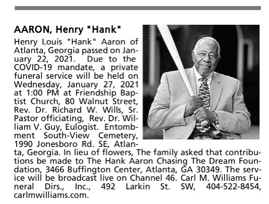 If there was any doubt about how truly humble Hank Aaron was, this is the family-placed obituary in Tuesday's edition of The Atlanta Journal-Constitution.