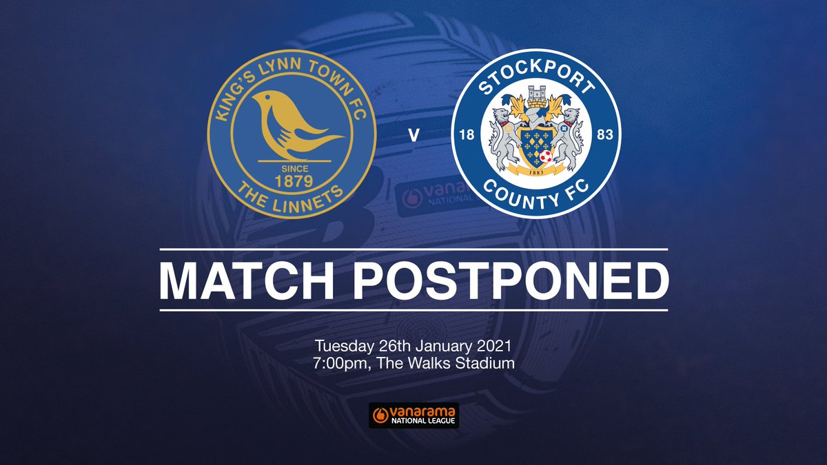 MATCH POSTPONED ❌   Today's National League fixture at King's Lynn Town has been postponed due to a frozen pitch at The Walks Stadium.  A new date will for this fixture will be announced in due course.