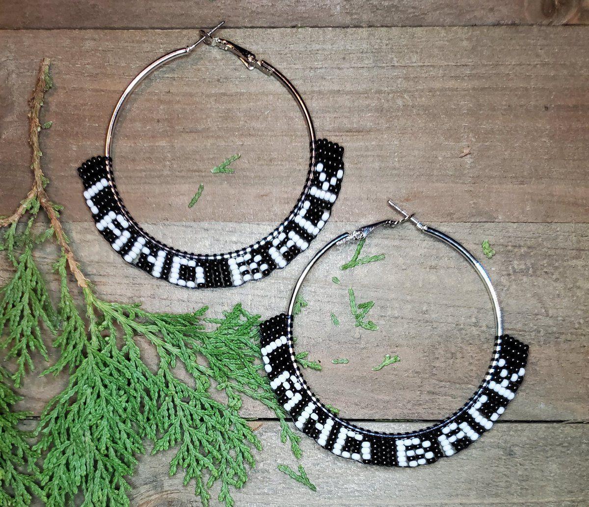 LAND BACK beaded hoop earrings available in my Etsy shop . #NativeTwitter #AlaskaNative #FirstNations #beadwork #NativeMade #BuyNative #Statimc #Unangax #Aleut #BeadedEarrings #LandBack