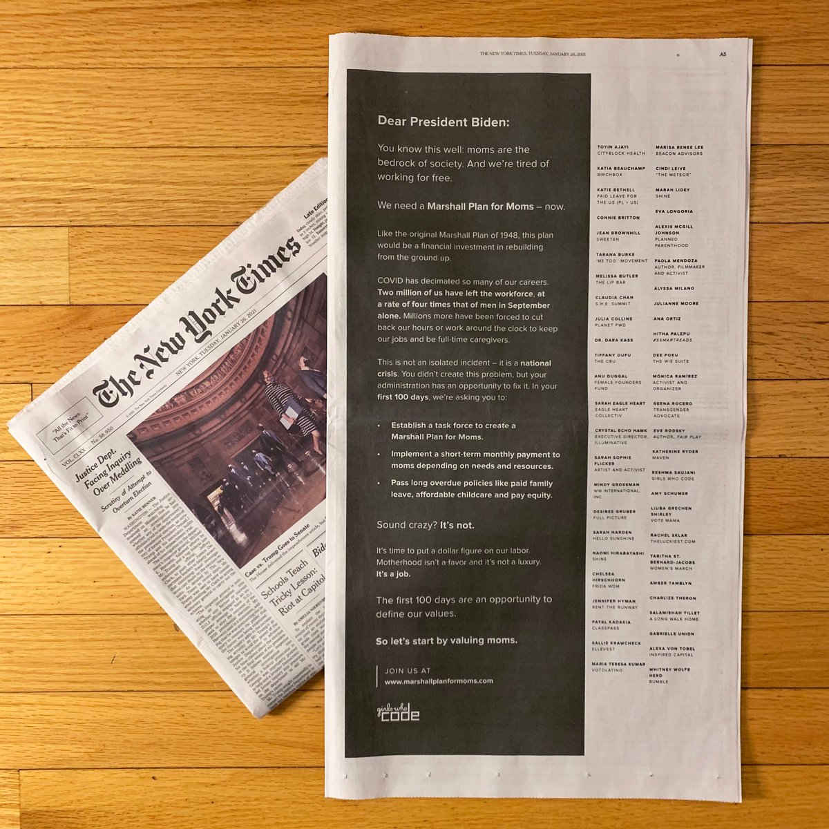 Today, @GirlsWhoCode took out a full-page ad in the @nytimes calling on the Biden administration to support moms by implementing a #MarshallPlanForMoms in the first 100 days. 50 prominent women signed on to our letter.  Take action and add your name: