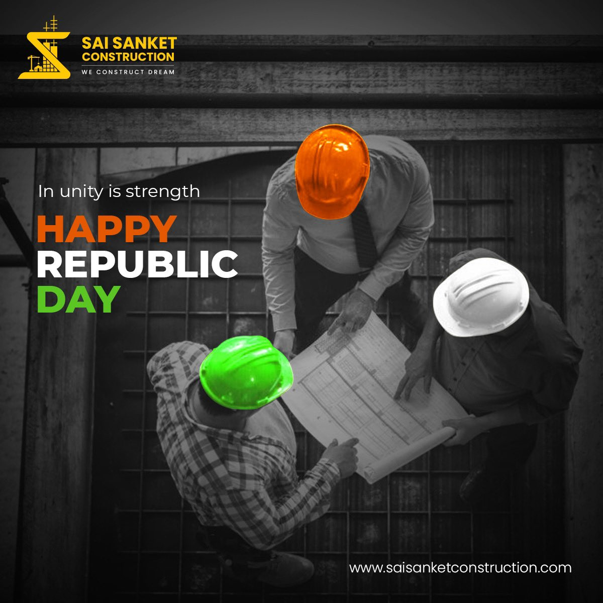 The Constitution of India and its values have been the driving force for this country and for our team. Sai Sanket Constructions wishes you all a very Happy Republic Day!   #SaiSanketConstructions #happymakarsankranti #DreamBigWithSaiSanketConstructions #WeConstructDreams