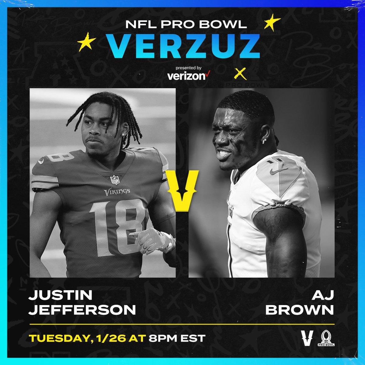 TONIGHT: @JJettas2 vs. @1kalwaysopen_ in the first edition of #NFLProBowlVerzuz!  8pm ET | Live on NFL Twitter @verzuzonline