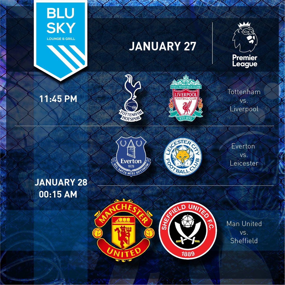 Blu Sky features a ton of #EPL matches tonight.  Games kickoff at 10pm. #burnleyfc #ChelseaFC #wolverhampton #WestHamFC #LiverpoolFC #tottenhamhotspurfc #leicestercityfootballclub #ManchesterUnited #SheffieldFC #sportsbar #inAbuDhabi #abudhabievents #abudhabilife #yoUAE