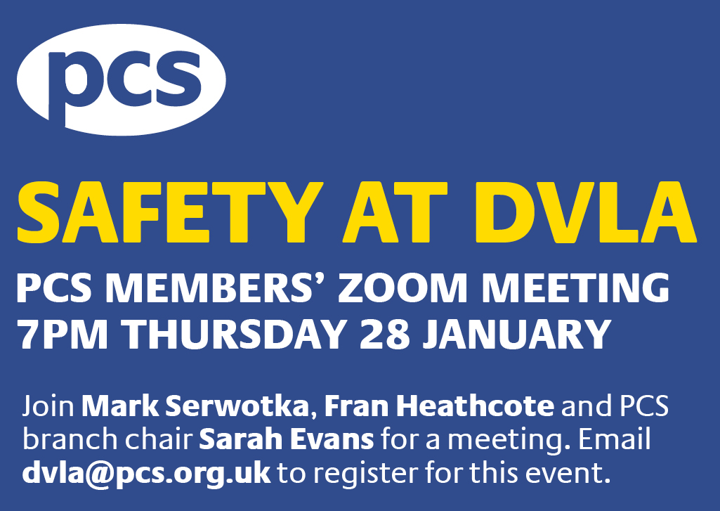 In light of the DVLA's continued refusal to drastically reduce the numbers continuing to work at sites experiencing the UK's biggest workplace Covid-19 outbreak, we are holding a members' Zoom meeting at 7pm on Thursday (28). pcs.org.uk/dvlaj28