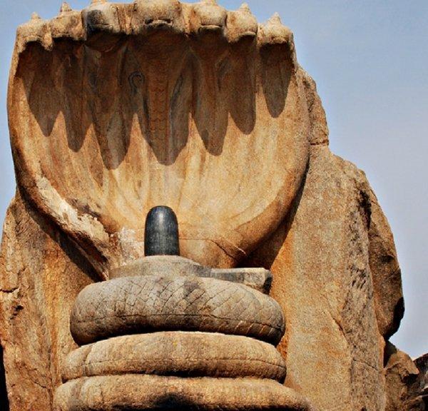 14th Century A.D :: Sculpture of Seven Headed Snake Guarding Shiva Linga , Lepakshi , Andhra Pradesh