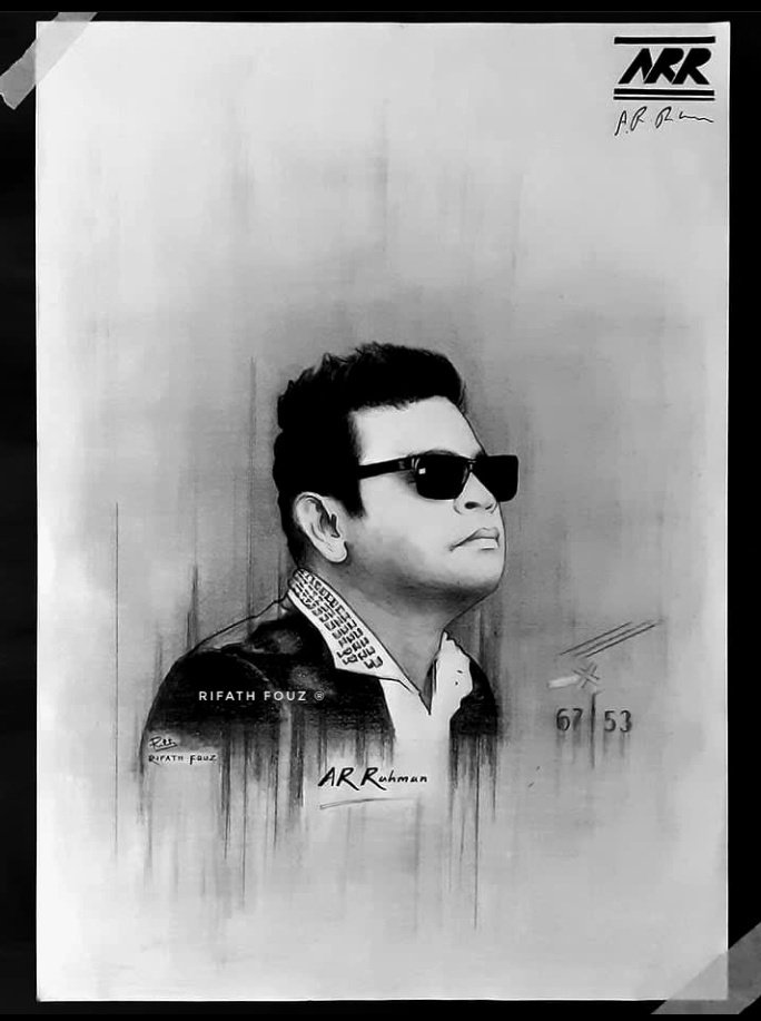"@arrahman  Check out my drawing of our favourite Music Composer ""AR Rahman"". The man with numerous awards, bagging the Oscars and the Grammys all together! ""Ellapuhazhumiraivanukke!"" 🖤🤍⚡ #arrahman #composer #fan #art #artist #drawing #music #hollywood #legend #Oscars #GRAMMYs"