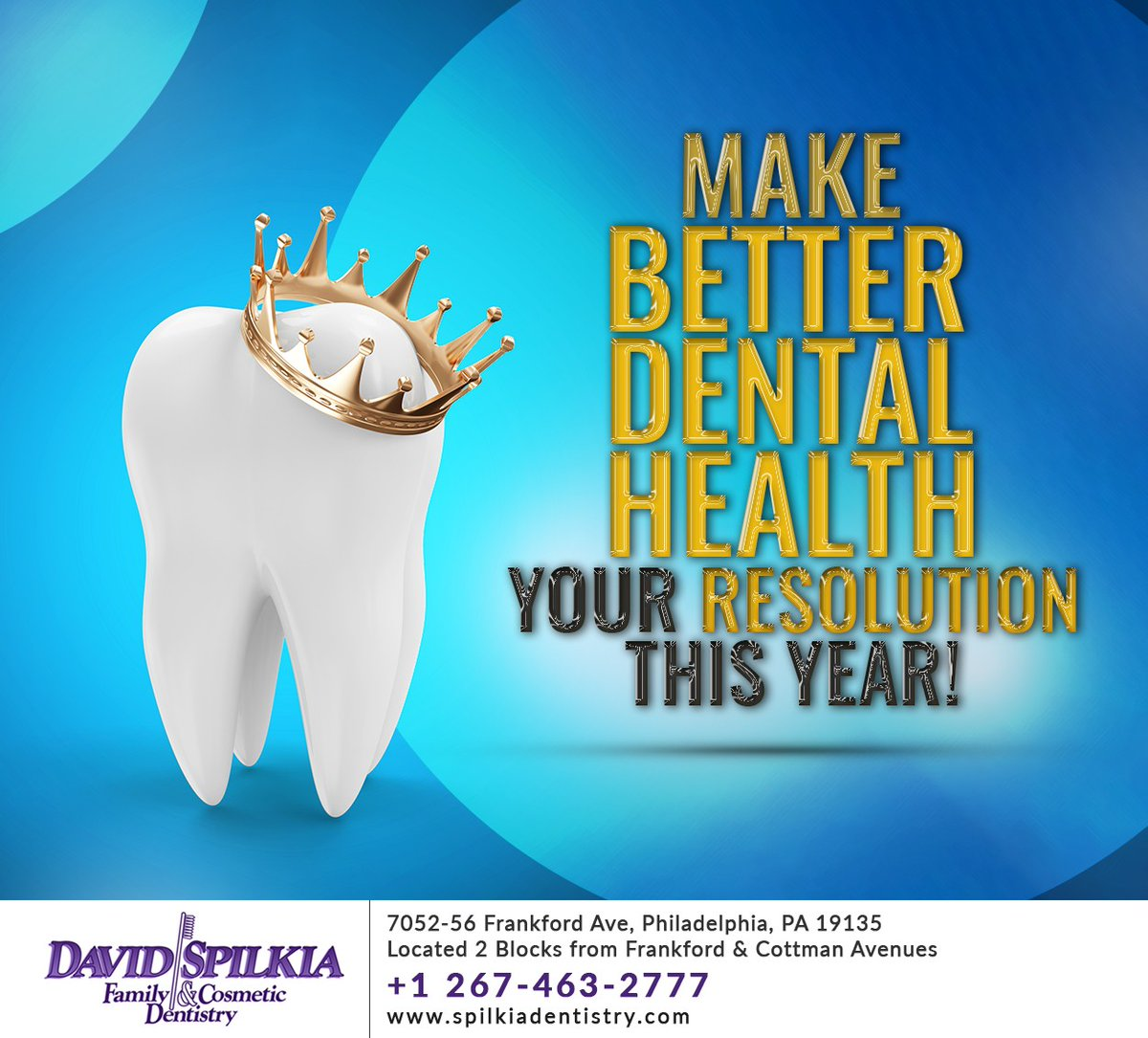 Make #2021 a better year by making a #dentalhealth resolution! Try resolving to #brush your #teeth before bed or to floss every day this year, and don't forget to make an appointment at https://t.co/SRdpIecOzF #newyear #philadelphia #PA #spilkiadentistry https://t.co/TgEz5vCsS8