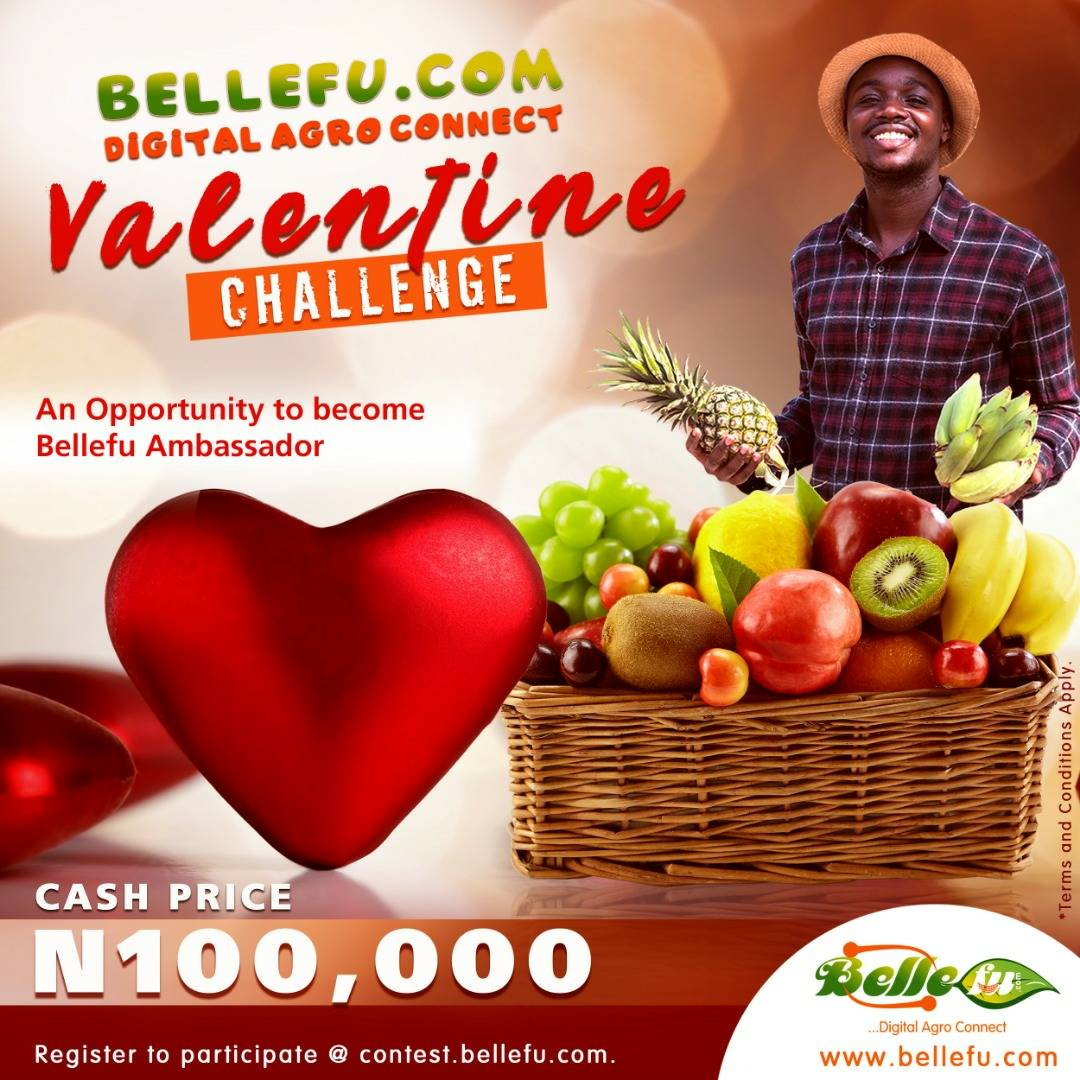 Join #Bellefu Valentine Challenge. Winner goes home with N100k on Valentine's day. It's free to join. Register here   #BellefuValentineChallenge #Valentinelove #tuesdaymotivations