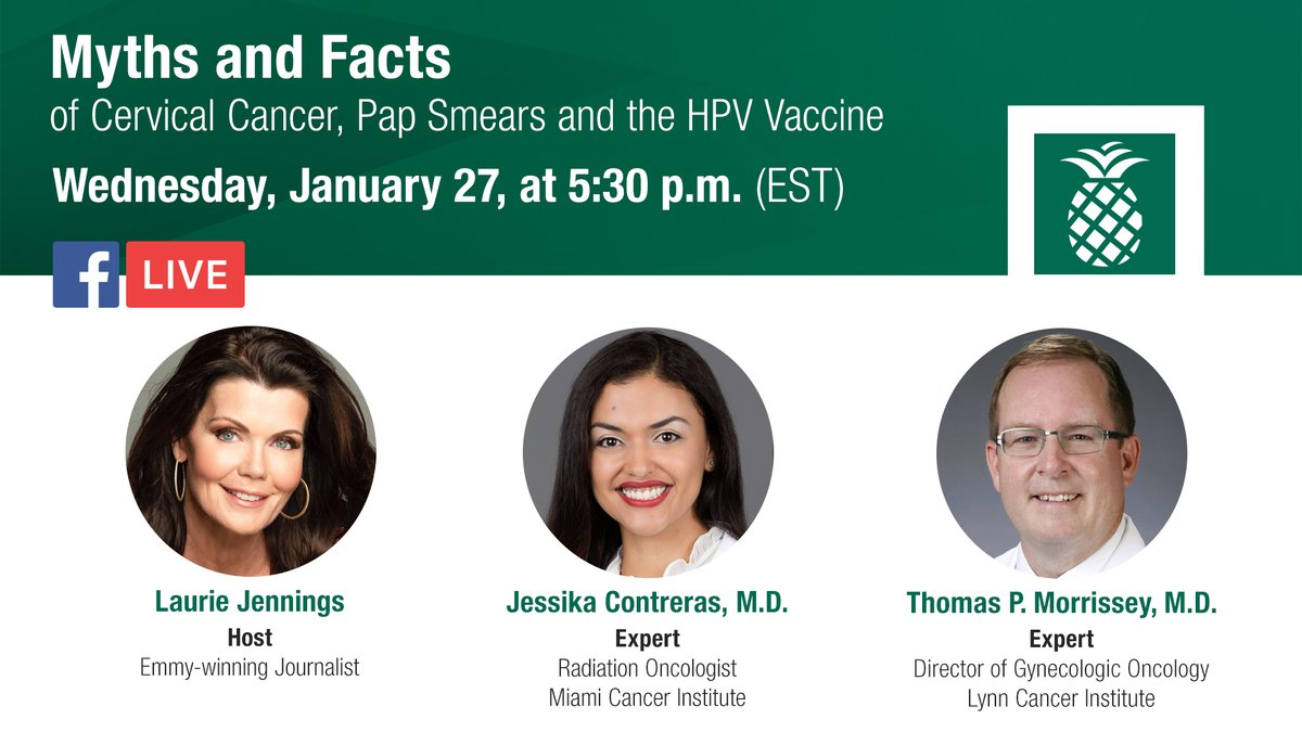As we observe #CervicalCancerAwarenessMonth in January, join our experts from Miami Cancer Institute and Eugene M. & Christine E. Lynn Cancer Institute for a LIVE discussion on FB. We will be talking about cervical cancer, pap smears, and the HPV vaccine. #CervicalCancer