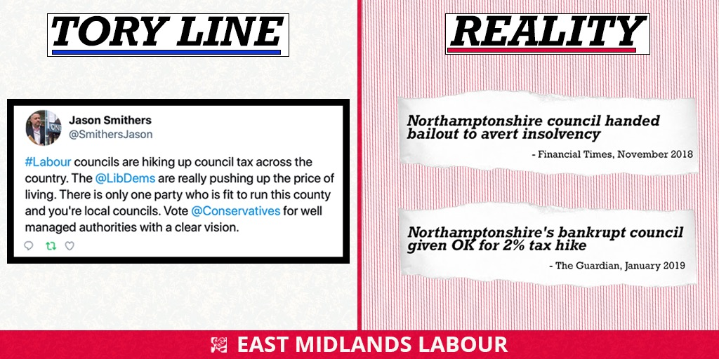 1️⃣💰 Tories bankrupt Northamptonshire County Council. 2️⃣📉 They slash services and raise council tax. 3️⃣📢 Tory Councillor claims they are the only ones fit to run Northamptonshire. 🤷♀️ You couldnt make it up.