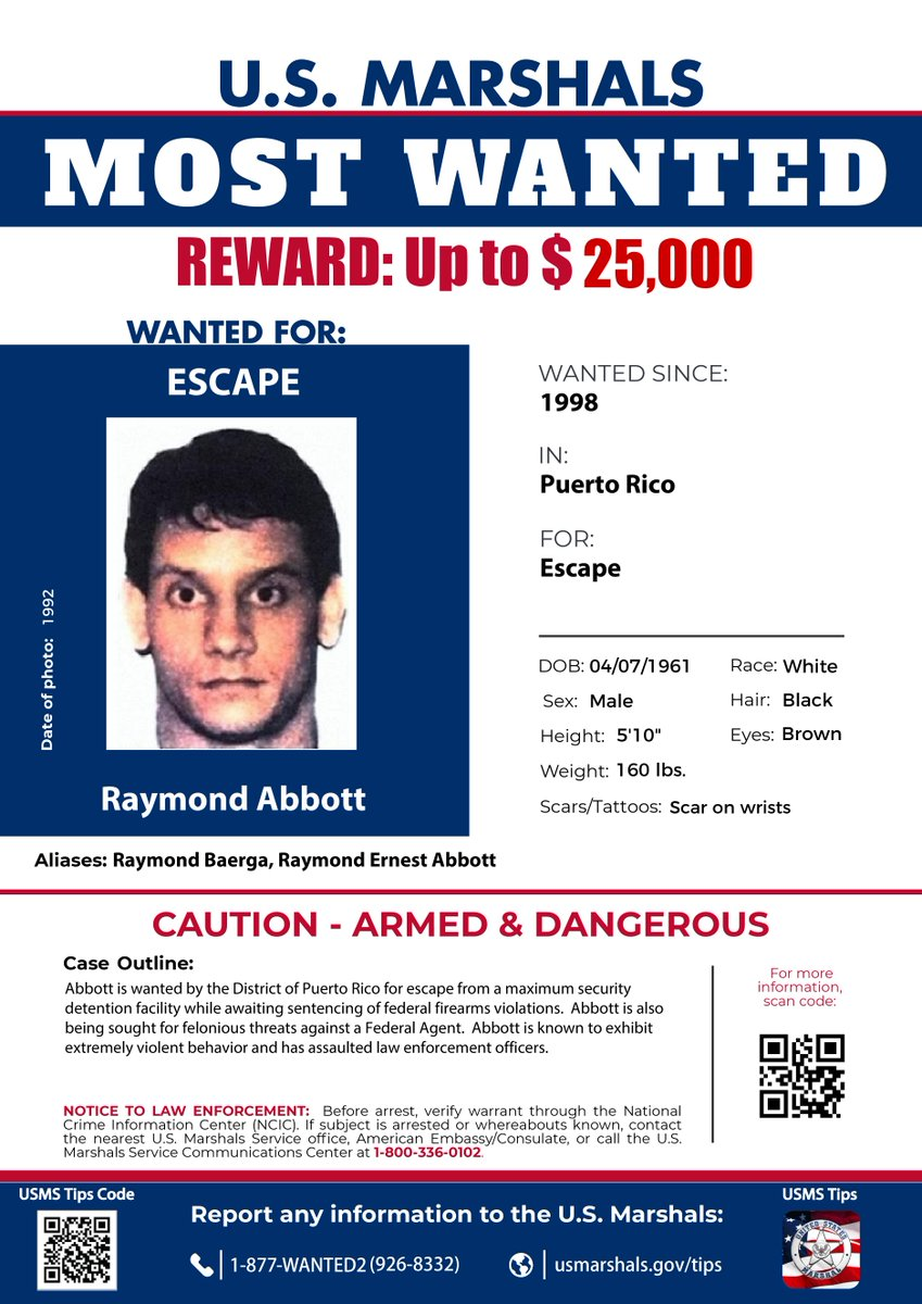 The USMS established the 15 Most Wanted Fugitive Program in 1983 to prioritize investigation & apprehension of some of the country's most dangerous fugitives. Rewards up to $25,000 are offered for information leading to arrests. Submit a tip. p3tips.com/USMS.aspx.