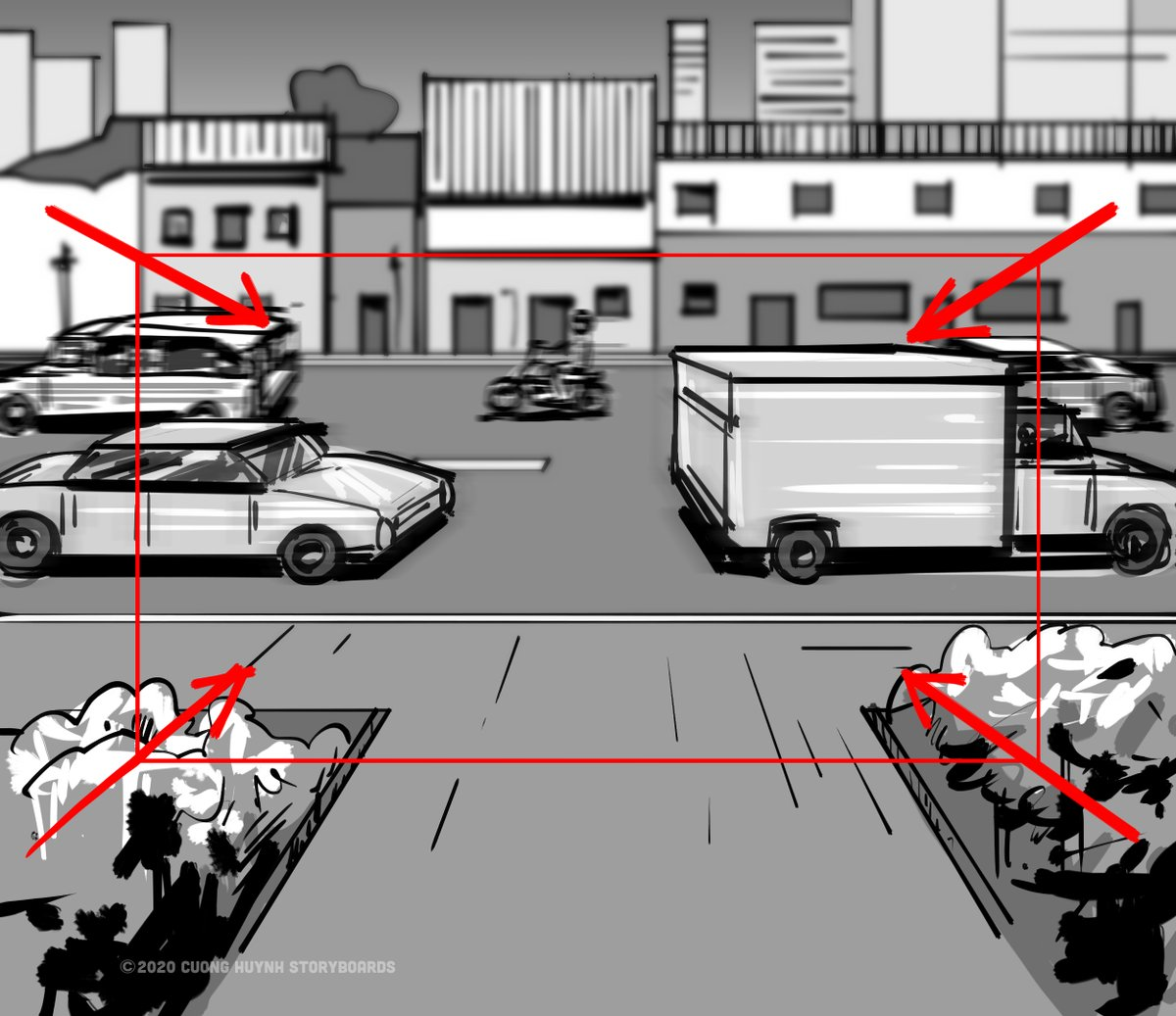 Frame 09 EP03: POV - GF exits hospital doors, walks out to the street/curb. #storyboard #artist #storyboarding #storyboards #drawing #drawings #films #filmdirector #director #filmcrew #filmmaking #filmmaker #preproduction #conceptart #filmproduction #illustrator #illustration