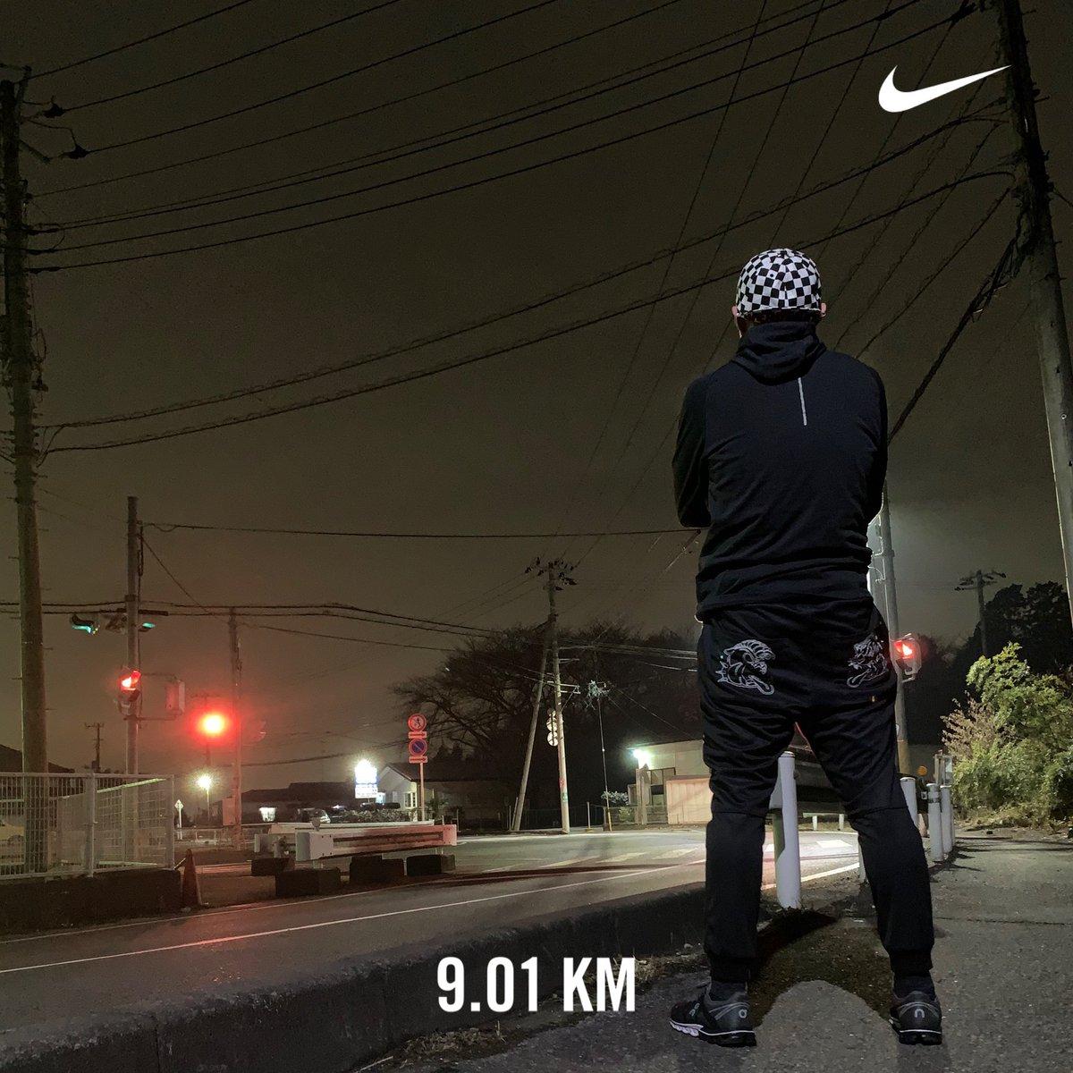 夜ラン そろそろあの3人組にパワーを貰いたいと思いながら走りました。 #幡ヶ谷再生大学陸上部 #mobstyles #peace_and_mosh  #highup_kure #Nikerunclub #on #Histandard #TheGift
